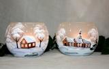 Teelicht Winterhaus weiß
