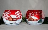Teelicht Winterhaus rot